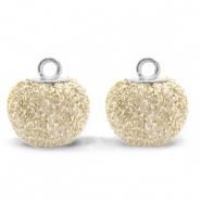Pompom charms with loop glitter 12mm Almond White-Silver