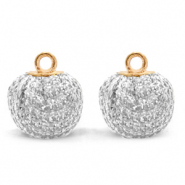 Pompom charms with loop glitter 12mm Crystal Silver-Gold