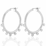 DQ European metal findings creole earrings 28mm with loops Antique Silver (nickel free)