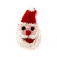 Charm with 1 eye felt Santa Red-White