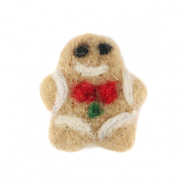 Charm with 1 eye felt gingerbead man Light Brown-White