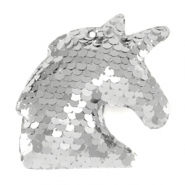Charm with 1 eye sequin unicorn Silver