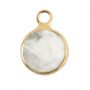 Natural stone charms 10mm White Marble-Gold