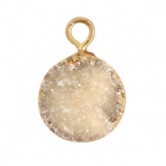 Natural stone charms crystal quartz 10mm Grey-Gold