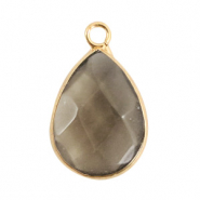 Natural stone charms drop Black Diamond-Gold
