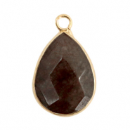 Natural stone charms drop Dark Brown Grey-Gold