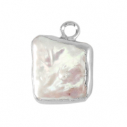Freshwater pearls charm square Silver-Natural White