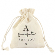 "Jewellery Linen Bag ""a gift for you"" Off White"