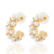Trendy earrings pearl creole 25mm Gold-Off White