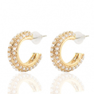 Trendy earrings pearl creole 20mm Gold-Off White