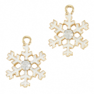 Metal charms snowflake Gold-White