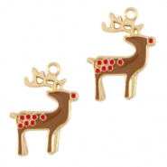 Metal charms reindeer Gold-Brown
