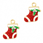 Metal charms christmas sock Gold-Red