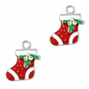 Metal charms christmas sock Silver-Red