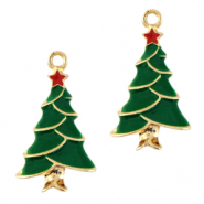 Metal charms christmas tree Gold-Green