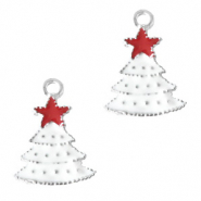 Metal charms christmas tree Silver-White