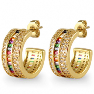 Zirconia rainbow creole earrings Gold