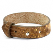 Cuoio bracelet leather croco 15 mm for 20 mm cabochon Tobacco Brown-Gold