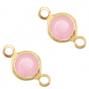 DQ European metal charms connector crystal glass round 6mm Gold-Rose Pink Opal
