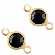 DQ European metal charms connector crystal glass round 4mm Gold-Jet Black Opaque