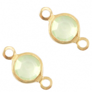 DQ European metal charms connector crystal glass round 4mm Gold-Meadow Green Crystal