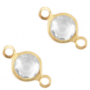 DQ European metal charms connector crystal glass round 4mm Gold-Crystal