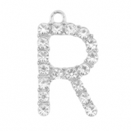 Metal rhinestone charms initial R Antique Silver