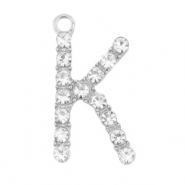 Metal rhinestone charms initial K Antique Silver