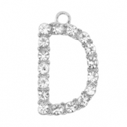 Metal rhinestone charms initial D Antique Silver