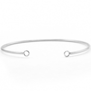 DQ European metal findings bangle bracelet with 2 loops Silver (nickel free)