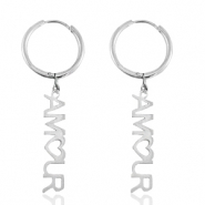 "Stainless steel earrings ""amour"" Silver"