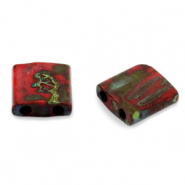 Miyuki beads tila 5x5mm Opaque Picasso Red TL-4521