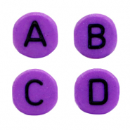 Acrylic letter beads mix Purple