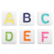 Acrylic letter beads mix Multicolour-White