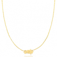Stainless steel necklaces puzzle Gold