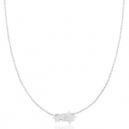 Stainless steel necklaces puzzle Silver