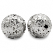 Hematite beads lava look Antique Silver