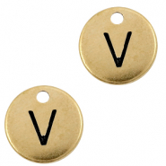 DQ European metal charms initial V Antique Bronze (nickel free)