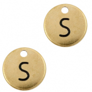 DQ European metal charms initial S Antique Bronze (nickel free)