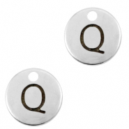 DQ European metal charms initial Q Antique Silver (nickel free)