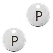 DQ European metal charms initial P Antique Silver (nickel free)