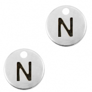 DQ European metal charms initial N Antique Silver (nickel free)
