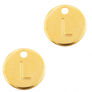DQ European metal charms initial L Gold (nickel free)