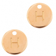 DQ European metal charms initial H Rose Gold (nickel free)