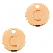 DQ European metal charms initial C Rose Gold (nickel free)