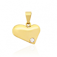 Stainless steel charms heart with stone Gold