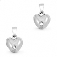 Stainless steel charms heart rounded with stone Silver