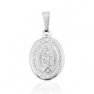 "Stainless steel charms oval ""Mother of Guadeloupe"" Silver"