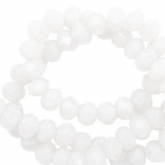 Top faceted beads 4x3mm disc Brilliant White-Pearl Shine Coating