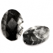 Natural stone beads faceted oval Black Anthracite